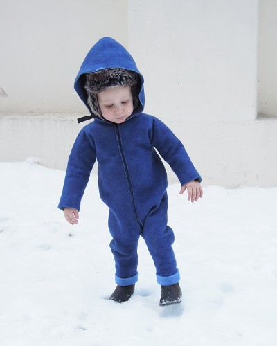 Felt blue autumn overall with hood for baby - wool overall - baby jumpsuit - toddler romper - wool romper