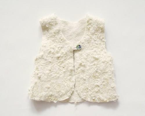 Felt Sherpa vest for girls - felt clothing - wool vest - fall clothing